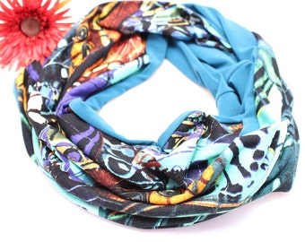 colorful butterfly Loop flowers Jersey colorful scarf Snood Loops