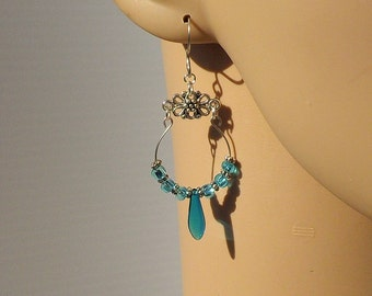 Turquoise Blue Memory Wire Earrings