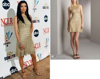 Beautiful Dress Golden Star Beige Crochet Hand-Made