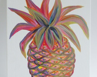 Pineapple Bliss / Acrylic painting on flat canvas 8x10 with hints of gold