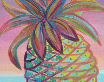 Pineapple Dawn / Acrylic painting on canvas 9x12 with hints of gold