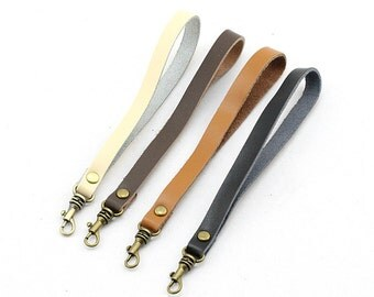 1 PCS 6.8 inch Lobster Clasp Leather Wrist Strap for Clutch, Leather Wristlet, Leather Strap for Keys
