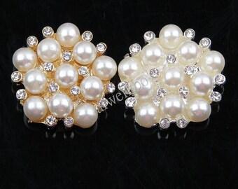 Pearl Rhinestone Button,Craft Supplies,Wedding DIY Supply,Flower Center