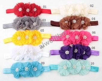 Pearl Chiffon Flower Headbands,Baby Girl Headband,Newborn Headband