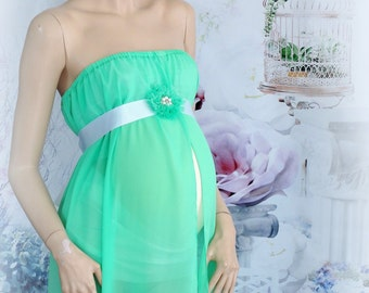 Maternity chiffon -Gown- Dress Green Only