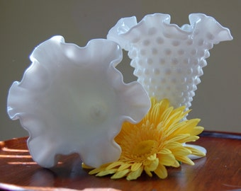 A Pair of Hobnailed Milk Glass Trumpet Vases by Fenton