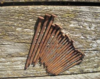 20 rusted nails old nails metal steampunk art craft supplies straight rusty nails small reclaimed iron industrial rustic vintage antique