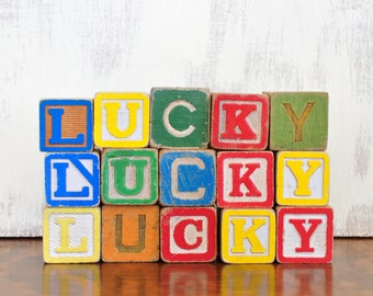 Vintage LUCKY Wood Alphabet Blocks, Wooden Letter Sign