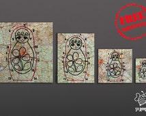 4 Paintings Matryoshka hand-painted picture Babuska, track encrypted, Matryoshka dolls painted on street maps, road atlas framework,
