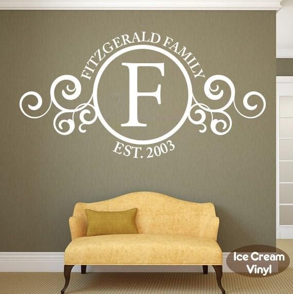 Family Name Wall Decal With Date Established Monogram Custom Vinyl Home Decor Living Room Family Room Vinyl Lettering
