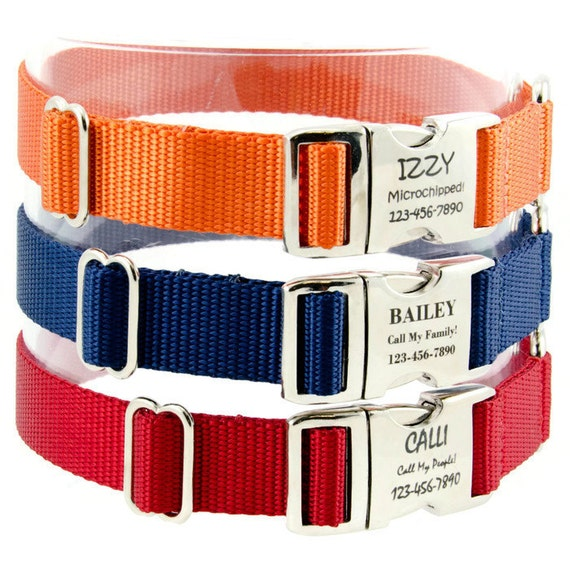 Personalized Dog Collar Custom Laser Engraved Pet ID