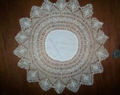 "Antique 10 1/2"" round doily lace hand done"