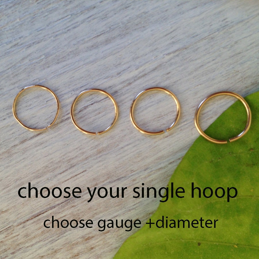 Small Gold Nose Hoop 18 Gauge Nose Ring Gold Nose Ring 22
