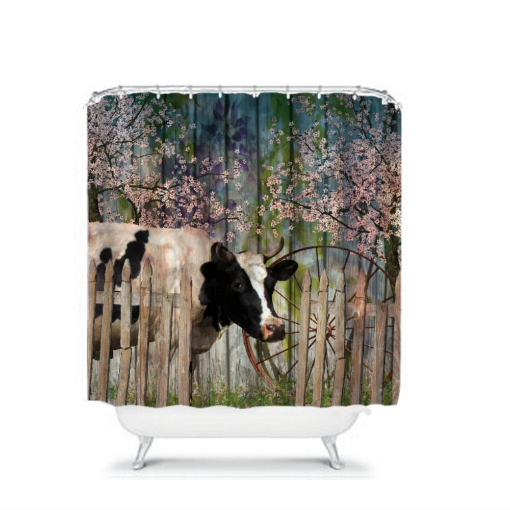 Cow Shower Curtain Door Primitive Farm House Decor