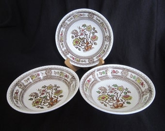 Wood & Sons Transferware Dorset Brown - Multi-color  Cereal Bowls - Set of 3 - England