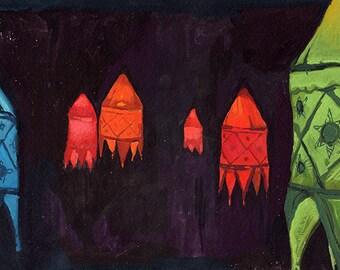 Indian Lanterns. Art Print of Original Gouache Painting.