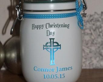 """Personalised Glass Jar Love-Lite Jar """"Christening """""""