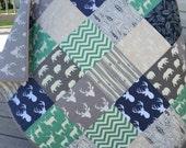 Woodland/Deer baby quilt, deer, bears, leaves, trees, birch fabrics, navy-pool-mint-gray-tan