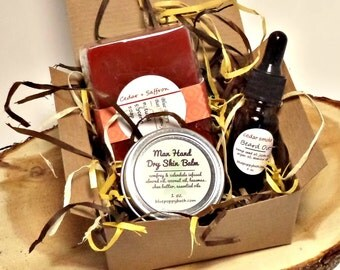 Gift for Dad, Boyfriend Gift, Mens Grooming Kit with Soap, Beard Oil and Dry Skin Balm, Fathers Day, Gift for Him, Beard Kit, Mens Skincare
