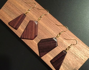Natural, asemmetrical, geometric, dangle, dropstyle, teardrop, earrings, rosewood, handcrafted, unique, light weight, reclaimed, wood