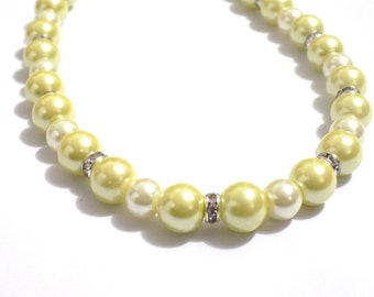 Yellow pearl necklace , pearl necklace , yellow necklace , wedding pearl necklace, beaded necklace. pearl necklace bridesmaid