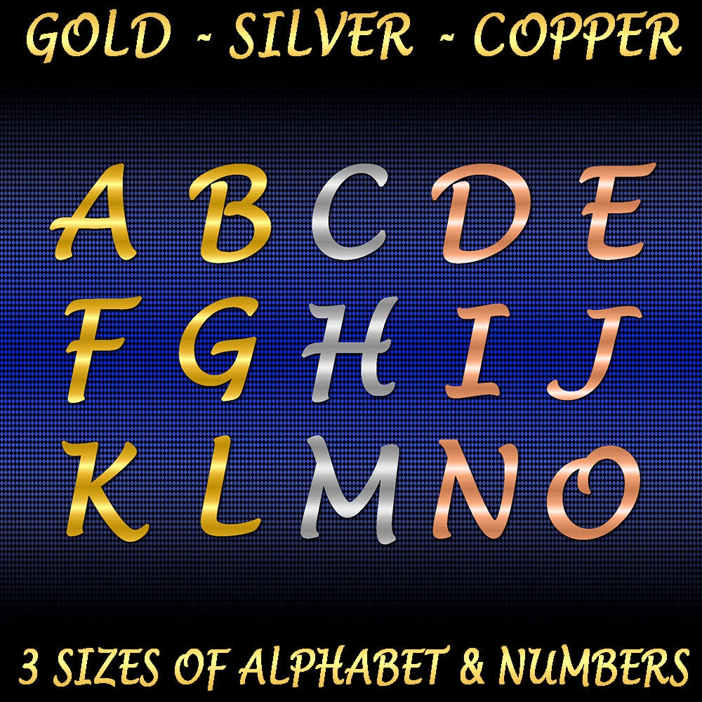 Alphabet Foil Silvers: Metal Foil Alphabet & Number Set In Gold Silver Copper 3