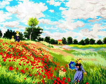 60%OFF//NEEDLEPOINT CANVAS// By Tapex. A Vintage Needlepoint Reproduction of a Monet Painting, The Poppy Field.//Was (350.00) Now!!