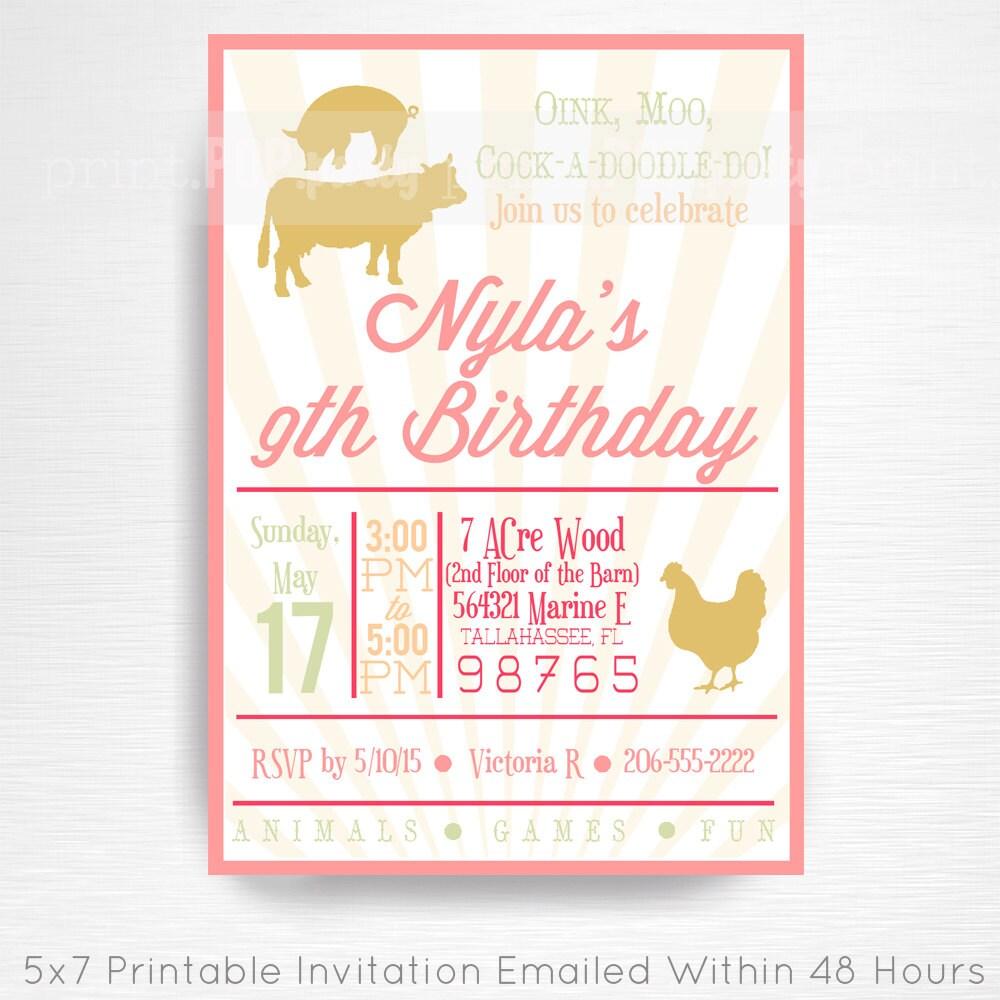Pink Vintage Farm Birthday Party Printable By Printpopparty