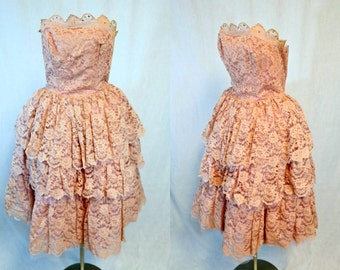 Pretty Pink Lace Tiered Strapless Emma Domb  Cupcake Dress with Rhinestones
