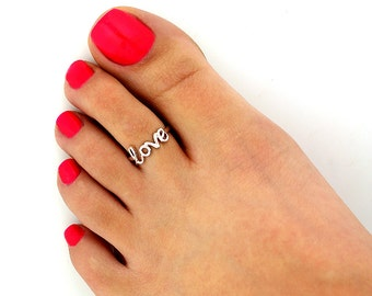 Sterling silver toe ring Love design adjustable toe ring Also knuckle ring(T-111)