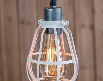 White Cage pendant light Industrial ceiling light, Antique Edison Bulb, Lamp, Rustic Lighting