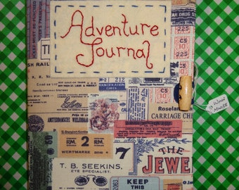 Reusable Handmade Adventure Journal for your travels, A5, Lined notebook provided