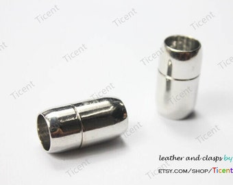 3 sets 10mm Diameter Hole Silver Plated Magnetic Clasp, Cylinder Clasp 19mm Long MT10M-486