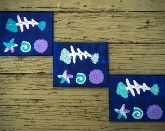 Halloween Decor Crochet Wall Art Blue Fish Unique Handmade Nursery Decor Canvas Paintings Set of Three Marine Life