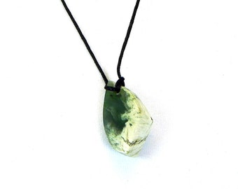 Nephrite jade pendant, green and white jade pendant, hand made pendant