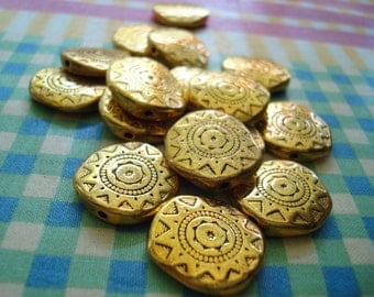 12 Aztec Sun Beads. Beautiful Antiqued Gold Sun Spacers. 2 Sizes 18x4 or 13x3mm Quality Gold Plated Pewter Spacers ~*Ships From Oregon