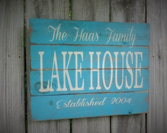 Personalized Lake Sign Lake House Wood Sign Established Wooden Sign Rustic Wooden Sign Christmas Gift