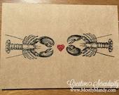 Lobster Love Handmade Greeting Card