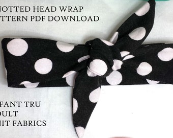 Knotted headband pattern,headwrap Pattern,baby Headband Pattern, Digital Download,Bandana Pattern,DIY headwrap