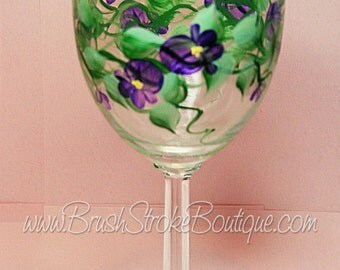 Hand Painted Wine Glass - Violets - Personalized and Custom Wine Glasses for Birthday, Wedding, Party, Special Occasions
