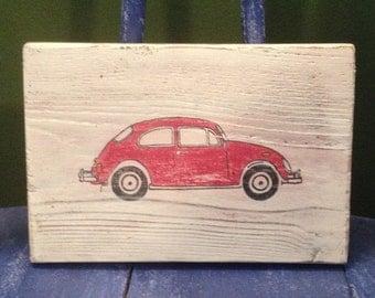 Vintage Red VW Bug
