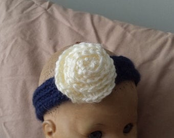 Crochet Blue Headband with Attached White Rose for Baby/Newborn