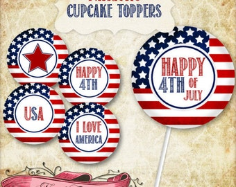 Patriotic Cupcake Toppers, 4th of July Printable Party Decorations, Patriotic Digital Labels, INSTANT DOWNLOAD