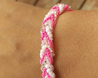 Hot pink braided bracelet