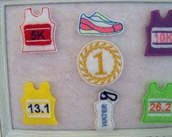 Running or Marathon Felties , Tank, Water Bottle, Running Shoe, Medal ...you choose