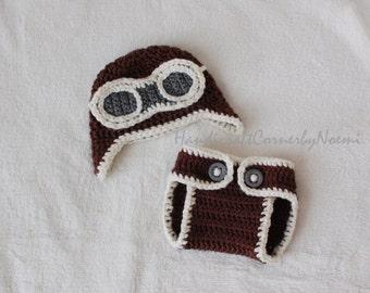 Aviator Crochet Hat w/ matching diaper cover