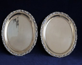 Vintage small oval brass trays with flower detail