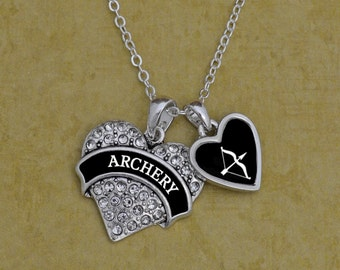 Archery Heart Necklace with Accent Charm