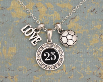 Custom Number 3 Charm Soccer Necklace
