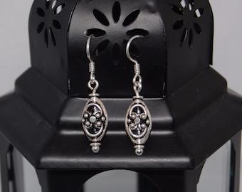 Sterling Silver Bali Bead Drop Earrings